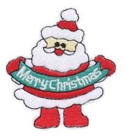 Christmas Santa Patch Claus Xmas Embroidered Iron Sew On Applique Badge Motif