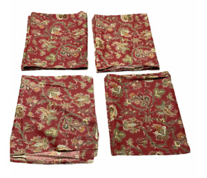 Waverly Traditions Set of 4 Red Green Jacobean Paisley Poly Cotton Window Panels