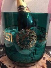 VERSACE MEDUSA GREEK KEY GOLD VASE GREEN GLASS ROSENTHAL  VINTAGE SALE