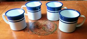 """Metal Cups """"Camping"""" Blue And White 4 Inch"""