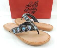 3a2af4b01b44c2 Naughty Monkey Glitz and Gleam Thick Bead Flip Flop Thong Sandals Black Size  7.5