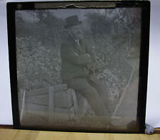 c1890-1900s SMART MAN SAT in GARDEN - Glass Lantern Photo Slide