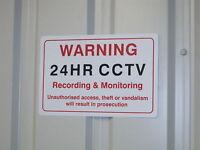 SECURITY CAMERA SIGN - WARNING SIGN - 24HR CCTV SIGN - 300 x 200mm