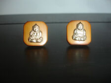 Collectible Budda Religious Bamboo Square Gold Tone Cuff Links Jewelry
