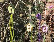 4 x Birdhouse DECORAZIONI nastri Pasqua CHIC ALBERO COUNTRY SHABBY CREDENZA