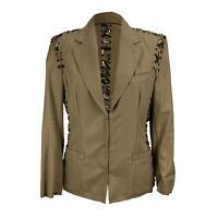 Authentic Yves Saint Laurent Beige Animal Print Lace Up Blazer Jacket Size 36 FR