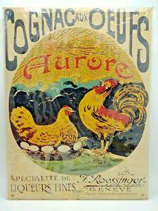 """Vintage French Liquor AD """"Cognac Aux Oeufs"""" Metal Sign Poster."""