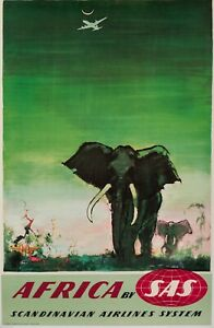 Original Vintage Poster - Otto Nielsen - Africa by SAS - Scandinavian Airlines
