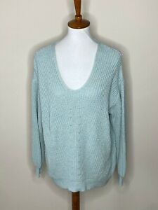 Old Navy XL Blue V-Neck Knit Sweater Long Balloon Sleeve Women's
