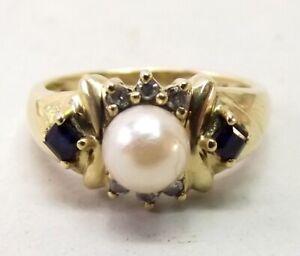 Vtg 14K Gold Cultured Pearl Diamond Natural Sapphire Ring Sz 6 .12 Carat Estate