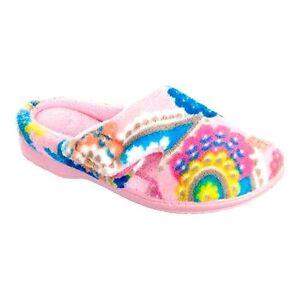 Dearfoams Aurora Pink Print Plush Terry Clog Peekaboo Slippers