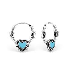 925 Sterling Silver Oxidised Blue Heart Bali Sleeper Hoop Earrings Kids Girls