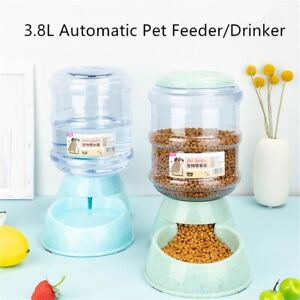 3.8L Large Automatic Pet Food Drink Dispenser Dog Cat Feeder Water Bowl Dish New