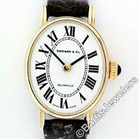 Vintage Tiffany & Co. 14k Gold Oval Roman Numeral White Dial Quartz Wrist Watch