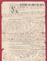 Original Antique 1795 DEED - Sale of land by JOTHAM JOHNSON to JOSIAH KNAPP Mass
