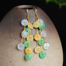 Natural Grade A Jadeite 5.5mm Safe Circle with 18K Yellow Gold Dangle Earrings
