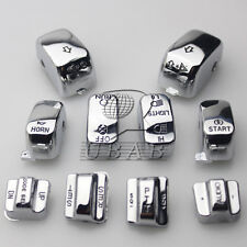 Chrome Carved Hand Control Switch Cover Button Cap for Harley SOFTAIL DYNA FLHTC