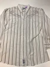 PANHANDLE SLIM Mens Shirt 2XL Western Pearl Snap Lg Sleeve 2 Pockets White