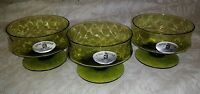 3 NWT Royal Prestige Green Crystal Low Profile Champagne Sherbet Dessert Bowls