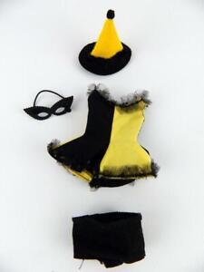 Vtg 1960s Skipper Masquerade Halloween Costume #1903 Yellow & Black Hat & Mask