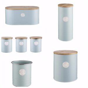 Blue Storage Tins Bread Bin Typhoon Living Metal Tea Coffee Sugar Spaghetti