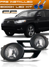 LED + 2008-2010 Toyota Highlander Bumper Driving Clear Fog Lights Complete Kit