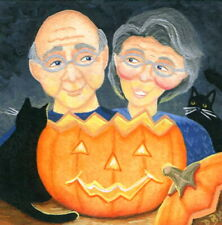 original mini art painting Halloween black cats couple figures naive pumpkin