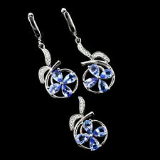 Bewitching Real 6x4mm Top Blue Violet Tanzanite & Cz Solid 925 Silver Set W8