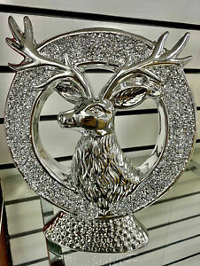 Silver Bling Crushed Crystal Diamond Reindeer Ornament New Shelf UK