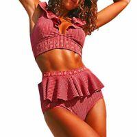 Women's Bikini Two Piece Ruffle High Waist Swimsuit Push Ups Filled Bra Lingerie