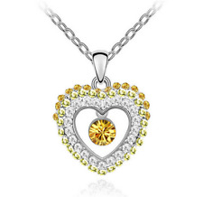 NEW Womens Heart  Yellow Crystal Rhinestone Silver Chain Pendant Necklace  HOT
