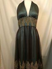 Adrianna Papell Boutique Green/Brown Halter Top Layered Lining Dress 10/12