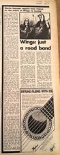 PAUL MacCARTNEY & Wings 'a road band' 1972 UK ARTICLE / clipping
