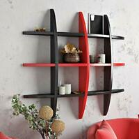 Wall Shelf Rack Globe Shape Storage Floating Wall Shelf -Black & Red, Home Decor