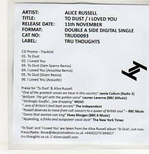 (EP615) Alice Russel, To Dust / I Loved You - 2013 DJ CD