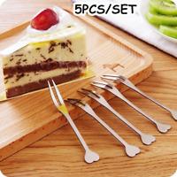 5Pcs/lot Fruit Forks Luxury Stainless Steel Silver Cake Dessert Salad Snack Fork