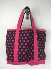 Vintage LL BEAN Boat & Tote Navy Pink Polka Dot Canvas Zip Bag Made In USA Rare