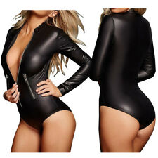 Womens Latex Wet Look Catsuit Sexy Zip Front Bodycon Faux Leather Teddy Lingerie