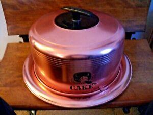 Vintage West Bend Cake Carrier Aluminum Locking Lid Copper Color, Black Handle