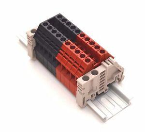Assembly DK4N Red/Black 10 Gang DIN Rail Dinkle 10AWG 30A 600V
