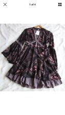 NWT Free People XS 2 Paisley Print Crochet Lace Dress Tiered Ruffle Bell Sleeve