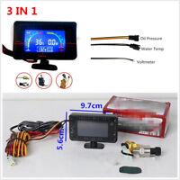 3In1 Car Oil Pressure Gauge+Voltmeter+Water Temperature Gauge Meter With Sensors