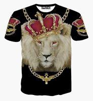 Fashion MENS REGGAE T SHIRT gold chain Crown Red Lion 3D Print Casual GB84