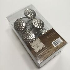 Silver Tone Metal Shower Curtain Hooks Round Hammered New in Box