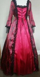 """Red Georgian style costume.  36"""" bust.  Good for panto or period plays & shows"""