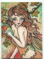 ACEO S/N L/E AUBURN PIXIE ELF GIRL AUTUMN FOLIAGE TREES SEASON MAPLE RARE PRINT