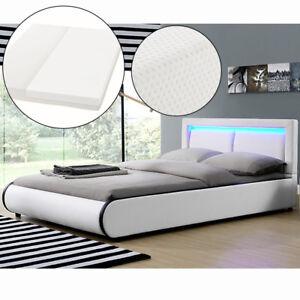 Ambiance Design en Cuir+LED Lit+Sommier+Matelas Double 140x200 à lattes bed L@@K