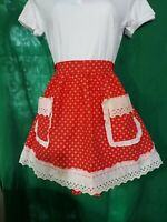 Vintage Handmade Red and White Lace Trim Retro Valentine's Half Apron