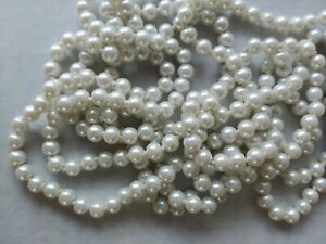 """BEAD LANDING GLASS PEARL NECKLACE WHITE 72"""" LONG CONTINUOUS STRING WITH TAG 0409"""