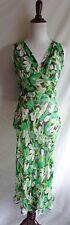 DVF Diane von Furstenberg 4 Green 100% Crinkled Silk Leaf Print Semi-Sheer Dress